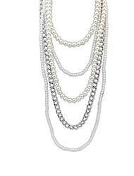 Necklace Strands Necklaces Jewelry Wedding / Party / Daily / Casual Fashionable Alloy / Imitation Pearl Silver / White 1pc Gift