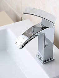 Contemporary Vessel Waterfall with  Ceramic Valve Single Handle One Hole for  Chrome , Bathroom Sink Faucet