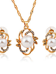 Golden Plated Pearl Drop Shape Gem Pendant Necklace & Earrings Jewelry Set