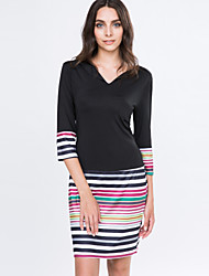 Women's Autumn Striped / Solid Black Dress , Vintage / Casual V Neck Long Sleeve
