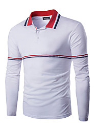 Men's Long Sleeve Polo,Cotton Casual / Sport Striped