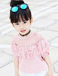 Girl's Casual/Daily Solid Blouse,Polyester Summer Blue / Pink / White