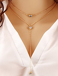 Alloy Gold Layered Chain Necklace with Crystal Pendant