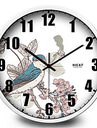 Garden Green Bird Home Furnishing Decorative Metal Quartz Wall Clock