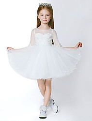 A-line Knee-length Flower Girl Dress-Tulle Half Sleeve