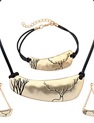 European Style Fashion Simple Irregular Metal Christmas Deer Necklace Bracelet Earring Sets