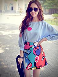 Rosa Doll® Damen Rundhalsausschnitt 3/4 Ärmel Shirt & Bluse Blau-X15BST039
