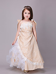 Ball Gown Ankle-length Flower Girl Dress - Cotton / Lace / Organza / Satin Sleeveless Spaghetti Straps with