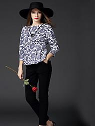 BOMOVO® Women's Round Neck 3/4 Length Sleeve Shirt & Blouse Multi-B14QK72