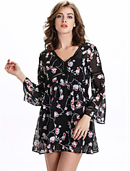 Women's Casual/Daily Sophisticated Summer Blouse,Floral V Neck Long Sleeve Black Others Sheer