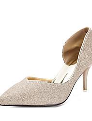 Damen-High Heels-Lässig-Glanz-Stöckelabsatz-Absätze-Schwarz / Silber / Gold