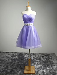 Lilac Cocktail Party Dress A-line Sweetheart Short / Mini Satin with Sash / Ribbon / Side Draping