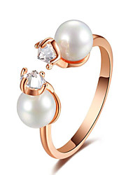 Inlaid pearl zircon adjustable ring