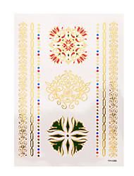 1pc Flash Metallic Tattoo Waterproof Gold Bracelet Beauty Flowers Temporary Tattoo Sticker YH-086