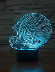 Удивительно 3d светодиодные настольные лампы lllusion ночь свет с формой регби шляпы изменения цвета ночной свет