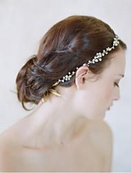 Women's Pearl / Rhinestone Headpiece-Wedding / Special Occasion  Flowers / Head Chain / Hair Tool 1 Piece ClearRound