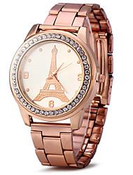 Unissex Relógio Elegante Relógio de Moda Simulado Diamante Relógio / imitação de diamante Quartzo Rosa Folheado a Ouro Aço Inoxidável