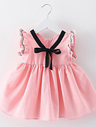 Baby Going out Solid Dress,Cotton Summer Pink / Purple / White