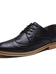 Herren Schuhe Leder Frühling Herbst Komfort Bullock Schuhe Outdoor Walking Schnürsenkel Für Normal Party & Festivität Schwarz Grau Braun