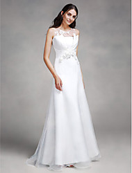 LAN TING BRIDE Trumpet / Mermaid Wedding Dress See-Through Sweep / Brush Train Jewel Lace Organza Satin with Flower Lace