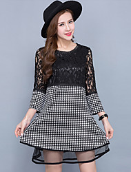 Women's Vintage / Street chic Print Plus Size / A Line Lace Dress,Round Neck Mini