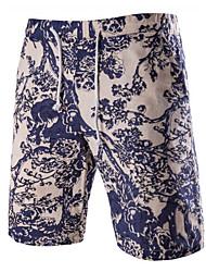 Men's Sports Elastic Linen Beach Shorts,Cotton / Linen White / Beige