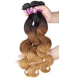 Âmbar Cabelo Brasileiro Onda de Corpo 3 Peças tece cabelo