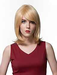 Charming Side Parting Blonde Human Hair Wigs For Women Capless European Style
