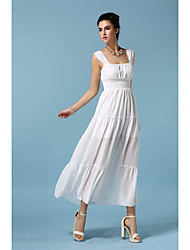 Women's Casual/Daily Simple Sheath / Chiffon Dress,Solid Strapless Maxi Sleeveless White / Black Others All Seasons
