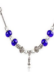 Navy Blue DIY Beads Strand Necklace with Flower Print Antique Silver Fine Jewelry