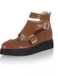 Women's Shoes Leatherette  Fall / Winter Comfort /  Round Toe Flats Dress / Casual Flat Heel Buckle / ZipperBlack