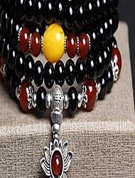 Black Natural Agate Beads Strand Bracelet(55cm)