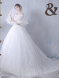 Ball Gown Wedding Dress Sweep / Brush Train Bateau Tulle with Appliques / Beading / Bow / Ruffle