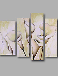 "Stretched (Ready to hang) Hand-Painted Oil Painting 54""x40"" Canvas Wall Art Modern Abstract Flowers White"