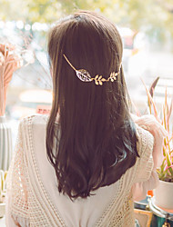Women Simple Hollow Leaves Alloy Hairpin Head Chain Hair Accessories  1 Piece
