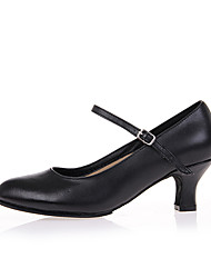 Women's Dance Shoes Leather  Jazz / Square dance/ Modern Heels Stiletto Heel Practice / Performance Shoes Black