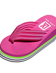 Women's Slippers & Flip-Flops Summer Flip Flops Polyester Casual Wedge Heel Others Black / Pink / Fuchsia
