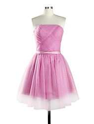 Knee-length Tulle Bridesmaid Dress A-line Strapless with Sash / Ribbon