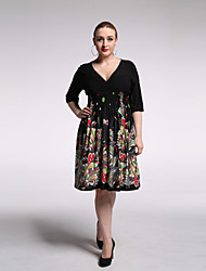 Balançoire Robe Femme Plage Grandes Tailles Vintage Bohème,Imprimé Col en V Mi-long Manches ¾ Noir Rayonne Polyester Eté Taille Haute