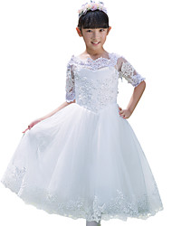 Ball Gown Tea-length Flower Girl Dress - Tulle Half Sleeve Bateau with Appliques
