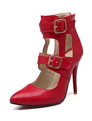 High Heels-Büro Lässig-Lackleder-Stöckelabsatz-Komfort-Schwarz Rot Mandelfarben