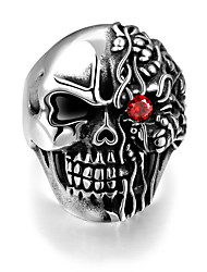 Ring,Steel Imitation Ruby / AAA Cubic Zirconia Vintage Halloween / Party Jewelry Stainless Steel Band Rings 1pc,8 / 9 / 10 / 11 Black