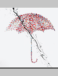 Hand Painted Canvas Oil Painting Modern Abstract Umbrella Wall Art Picture With Stretched Frame Ready To Hang 100x100cm