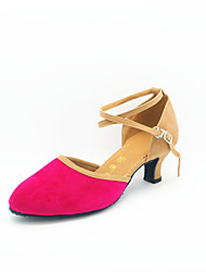 Non Customizable Women's Dance Shoes Modern Suede Cuban Heel Black/Blue/Brown/Green/Pink