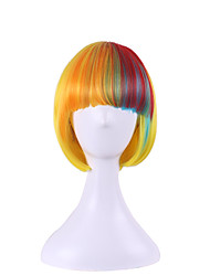 Ladies Short Straight Yellow Mix Rainbow Full Bangs BOBO Hair Style Synthetic Wigs Cosplay