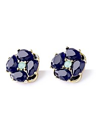 European Style Dark Blue Flower Earrings Geometric Rhinestone Stud Earrings for Women Fashion Jewelry