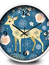 Creative Cartoon Camouflage Fawn Child Study Bedroom Mute  Quartz Wall Clock