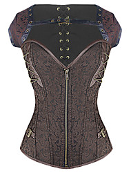 Shaperdiva Women's Dobby Bustier Gothic Steampunk Corset Tops With Zipper