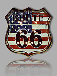 E-HOME® Metal Wall Art LED Wall Decor,Route 66 Flag Pattern LED Wall Decor One PCS