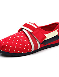 Women's Flats Spring Fall Canvas Casual Flat Heel Polka Dot Others Hook & Loop Blue Red